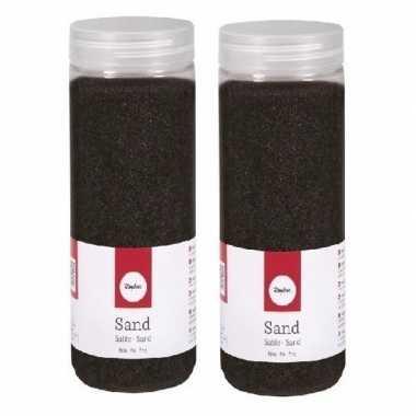 2x 475 ml zwarte decoratie zandkorrels fijn
