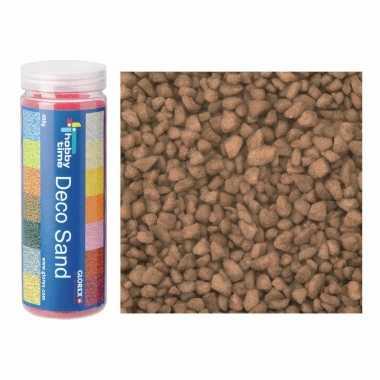 2x busjes fijn decoratie zand/kiezels bruin 480 gram