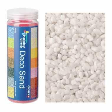 2x busjes fijn decoratie zand/kiezels wit 480 gram