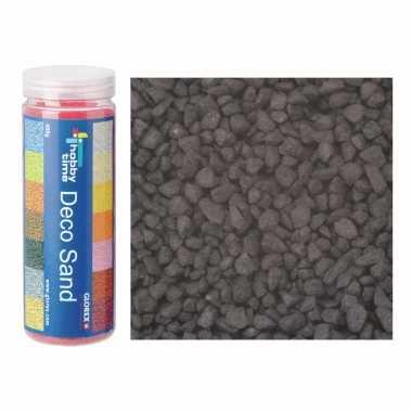 2x busjes fijn decoratie zand/kiezels zwart 480 gram