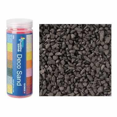 2x busjes grof decoratie zand/kiezels zwart 500 gram