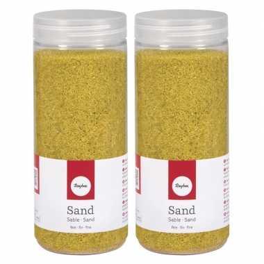 2x fijn decoratie zand geel 475 ml