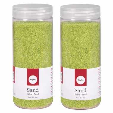 2x fijn decoratie zand groen 475 ml