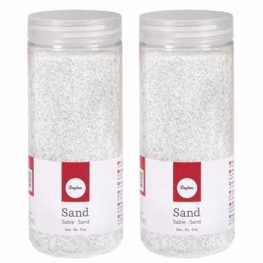 2x fijn decoratie zand wit 475 ml