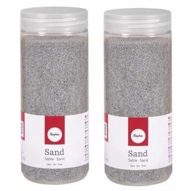 2x fijn decoratie zand zilver 475 ml