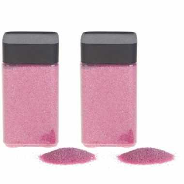 2x hobby/decoratiezand roze 600 gr