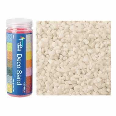 3x busjes fijn decoratie zand/kiezels creme wit 480 gram