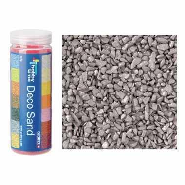 3x busjes grof decoratie zand/kiezels zilver 500 gram