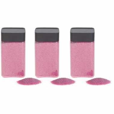 3x hobby/decoratiezand roze 600 gr