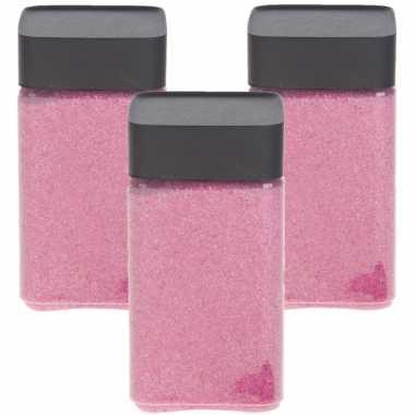 3x stuks hobby/decoratiezand roze 600 gr