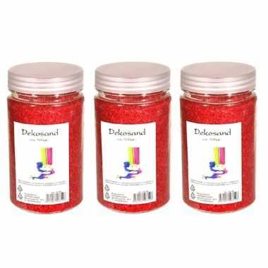3x stuks potjes decoratie korrelsteentjes zand rood 500 gram
