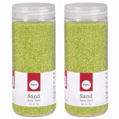 4x potjes groene decoratie zandkorrels fijn