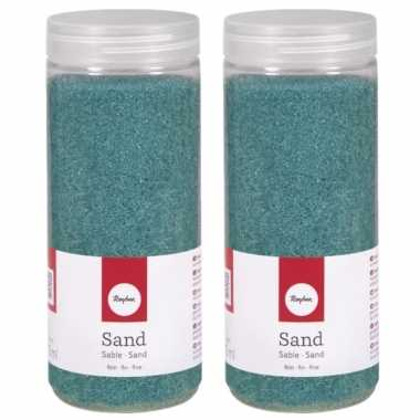 4x potjes turquoise decoratie zandkorrels fijn