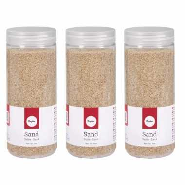 5x potjes fijn decoratie zand creme 475 ml