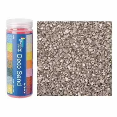 Fijn decoratie zand/kiezels zilver 480 gram