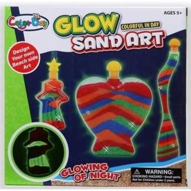 Speelzand setje met flesjes glow in the dark