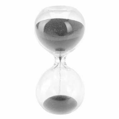Zandloper met zwart zand 8 minuten