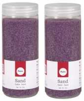 2x fijn decoratie zand lila 475 ml