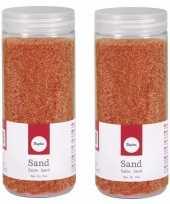 2x fijn decoratie zand oranje 475 ml