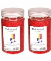 2x stuks potjes decoratie korrelsteentjes zand rood 500 gram