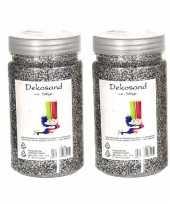 2x stuks potjes zilver zand korreltjes 500 gram
