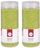 5x potjes groene decoratie zandkorrels fijn